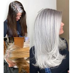 Makeover: From Box Brunette to Her Natural Silver - Hair Color - Modern Salon Grey Hair Transformation, Gray Hair Highlights, Balayage Highlights, Transition To Gray Hair, Long Gray Hair, Grey Brown Hair, Hair Videos, Balayage Hair, Haircolor