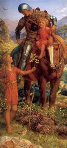 """Pre-Raphaelite Painting: """"The Rescue"""" (right panel of diptych), by Arthur Hughes - Knights Middle Ages, Pre Raphaelite Paintings, Pre Raphaelite Brotherhood, Knight In Shining Armor, Chivalry, Old Master, Illustrations, Beautiful Paintings, Fantasy Art"""