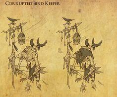 Corrupted Bird Keeper Sketch, Ian Jacobson on ArtStation at https://www.artstation.com/artwork/B9e0z