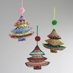 Embroidered Fabric Tree Ornaments, Set of 3   World Market; could be a fun garland and great way to use fabric scraps