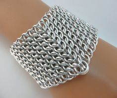 GSG Sheet Chainmaille Bracelet, Bright Aluminum, Twin Toggle Clasps, Chain Maille Bracelet