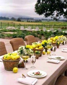 lemon pots and white freesia - yummy smells