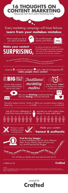 """""""16 Thoughts on Content Marketing"""" infographic for Crafted #infographic #marketing #contentmarketingquotes #contentmarketinginfographic"""