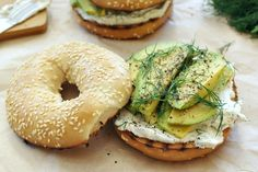 Toasted bagel with dill cream cheese and avocado - So good and easy. Can be hard to eat, but worth it! Vegetarian Recipes, Cooking Recipes, Healthy Recipes, Sandwiches, Avocado Recipes, Recipes From Heaven, Everyday Food, Cooking Light, Brunch Recipes