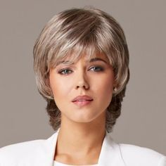 Elegant Fluffy Short Natural Wavy 100 Percent Human Hair Capless Side Bang Wig For Women Best Lace Front Wigs, Cheap Lace Front Wigs, Grey Curly Hair, Short Wavy Hair, Short Human Hair Wigs, Cheap Human Hair, Curly Wigs, Medium Hair Styles, Curly Hair Styles
