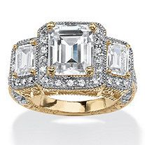 5.12 TCW Emerald-Cut Cubic Zirconia Halo Ring in 14k Gold over Sterling Silver