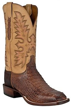 Lucchese Cowboy Collection Men's Tan Brown Hornback Gator Exotic Square Toe Boots
