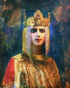 gaston bussiere paintings | Gaston Bussiere - Queen Yseult Description: Portrait of Yseult the ...