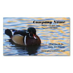 Wood Duck Business Card. I love this design! It is available for customization or ready to buy as is. All you need is to add your business info to this template then place the order. It will ship within 24 hours. Just click the image to make your own!