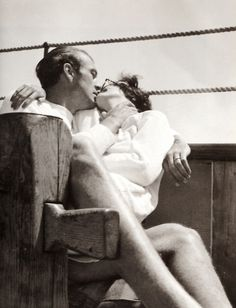 Gary Cooper with his wife Rocky, 1930s [viawehadfacesthen].