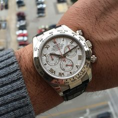 Rolex Daytona 116519 in white gold on a black leather strap, D9 serial with US papers, is now available here at WX Watches!!