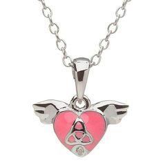 Silver Trinity Diamond Heart Pendant