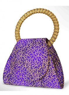 Classic Purple Brocade Clutch Bag