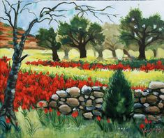 Chios' red tulips acrylic on canvas
