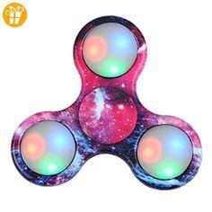 Ouneed® Fidget Spinner Hand Spinner Spielzeug , Sternenhimmel LED-Licht Fidget Hand Spinner rainbow camouflage Multicolored Finger Spielzeug für Kinder und Erwachsene (C) - Fidget spinner (*Partner-Link)