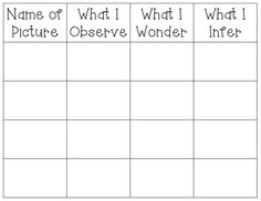 This is a great comprehension sheet to use during your Harris Burdick study! The sheet contains enough spaces to fill in info for 4 pictures (I copied it front and back to do 8). Students will fill out the title of the picture, what they observe, what they wonder, and what they infer.