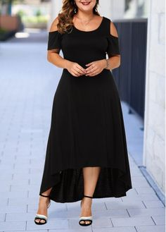 Women'S Black Cold Shoulder Plus Size Casual Dress Solid Color High Low Short Sleeve Maxi Dress By Rosewe Black Cold Shoulder Plus Size High Low Dress Dress Plus Size, Plus Size Maxi Dresses, Large Size Dresses, Dresses For Sale, Short Sleeve Dresses, Plus Size Shorts, Wedding Dress Black, Wedding Dresses, Spandex Dress