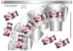 Silver Effect Christmas Gift Sweet Basket on Craftsuprint designed by Tanya Hall - A pretty stylish basket with baubles and foliage - Now available for download!