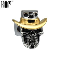 HIP Punk Gothic Titanium Stainless Steel Two Tone Gold Color Cowboy Cap Skeleton Rings for Men Jewelry #Affiliate