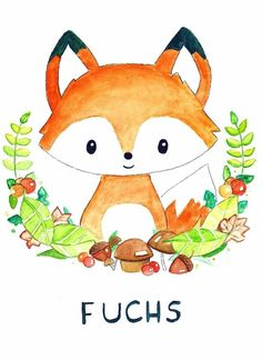 Sweet baby fox (Say: Fox not. We both giggled helplessly because, let's face it, we Americans will floof this one up on the first try.) Lol I started to read it and then I was like OHHHHHHHH, CRAP Fuchs Illustration, Cute Illustration, Animal Drawings, Cute Drawings, Baby Face Drawing, Cute Fox Drawing, Stickers Kawaii, Fox Art, Nursery Art