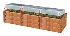 Exaco Triple Box 20374 Triple-Box Raised Bed with cover: Unique raised bed planter with insulating building 'bricks' (new technology) for better seedling production earlier in the season. Great for th...