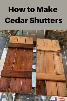 How to Make Cedar ShuttersWant to make cedar shutters or build shutters from another type of wood? The exterior of our house was originally cedar board and batten. However, when we renovated, we removed the Cedar Shutters, Farmhouse Shutters, Rustic Shutters, Diy Shutters, Cedar Siding, Diy Exterior Wood Shutters, Houses With Shutters, Farm Shutters, Outdoor Shutters