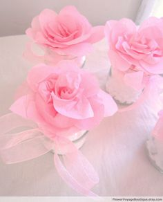 Set of 6 pink table centerpieces with paper flowers and organza ribbon. Girl baby shower, shabby chic, spring, beach.