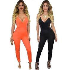 2016 Summer New Jumpsuit Women Solid Color Suspenders Piece Jumpsuit Female Tight Halter One-Piece Pants LUCKY 764