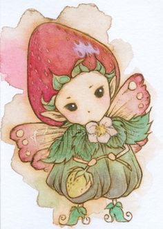 Items similar to Open Edition ACEO Print - Whimsical Strawberry Sprite - Cute Little Fruit Fairy - Kawaii Ichigo - Fantasy Art by Mitzi Sato-Wiuff on Etsy Fairy Drawings, Fantasy Drawings, Fantasy Art, Canvas Light Art, Hippie Wallpaper, Cute Animal Drawings Kawaii, Creation Art, Flower Fairies, Fantasy Illustration