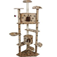 Beige Paws New 80' Cat Tree Condo Furniture Scratch Post Pet House -- Special cat product just for you. See it now! : Cat condo