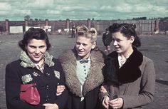 Three unidentified Jewish woman pose arm in arm together in the Kutno Ghetto, Kutno, Poland, early 1940. The German occupation of Poland began in September 1939 with the Kutno ghetto established shortly after. It existed until early 1942, when the majority of its inhabitants were sent to the Chelmno extermination camp