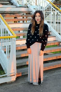 Polka Dot Knit & Grey Maxi Skirt OOTD