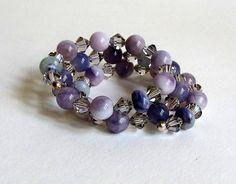 Lilac Jasper Memory Wire Bracelet with Grey Swavorski