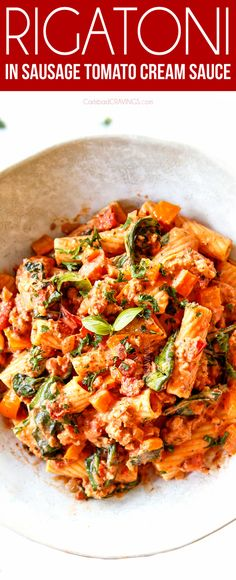 is my family's favorite pasta! Rigatoni smothered in an intoxicating tomato cream sauce ready in 30 minutes! It's make-ahead friendly, freezer friendly and easy to customize with your favorite veggies (make ahead and freezer instructions included). Rigatoni Recipes, Baked Rigatoni, Easy Pasta Recipes, Dinner Recipes, Easy Italian Recipes, Dinner Ideas, Sausage Rigatoni, Rice Recipes, Bon Appetit