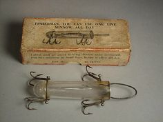 Glass Minnow Tube: Made by Detroit Glass Minnow Tube Co., Detroit, Michigan. Circa 1914.