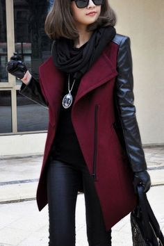 The Vogue Fashion: Black and Burgundy Leather Jacket Coloured Leather Jacket, Burgundy Leather Jacket, Black Leather, Pu Leather, Maroon Jacket, Burgundy Blazer, Leather Pants, Vogue Fashion, Look Fashion