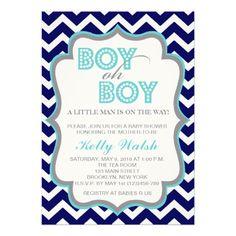 boy oh boy chic chevron baby shower invitation | baby shower ideas, Baby shower invitations