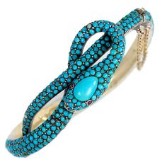 French Antique Turquoise Gold Serpent Motif Bracelet | From a unique collection of vintage bangles at https://www.1stdibs.com/jewelry/bracelets/bangles/