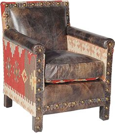 Beautiful kilim and leather chair