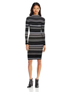 Derek Heart Juniors Funnel Neck Long Sleeve Stripe Midi Sweater Dress