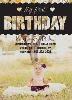 The Elegant Photo First Birthday Invitation by Basic Invite First Birthday Invitations, Birthday Games, 2nd Birthday Parties, Birthday Ideas, First Birthdays, Invite, Templates, Elegant, Rose