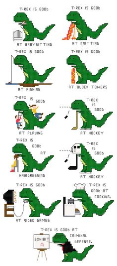 Cross Stitch Pattern Customized T-Rex being good by aliciawatkins