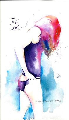 Original Watercolor Illustration - Figurative Watercolor Painting Titled: Summer time by Lana Moes