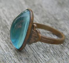 blue glass and copper ring