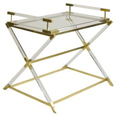 1stdibs - French Lucite and Brass Table with Removable Tray explore items from 1,700  global dealers at 1stdibs.com