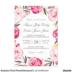 Romantic Floral Wreath Botanical Formal Wedding Card