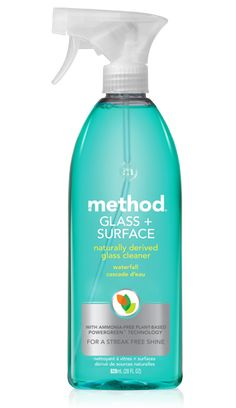 method glass + surface cleaner with plant-based powergreen® technology provides a gleaming, streak-free shine. non-toxic with the fresh scent of waterfall.