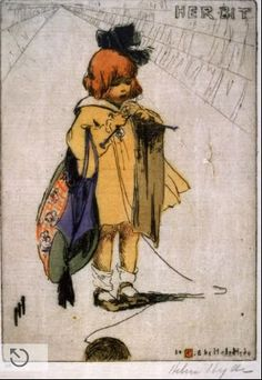 "Helen Hyde's 1918 drawing of a little girl knitting ""her bit""   via feitoamao tumblr"
