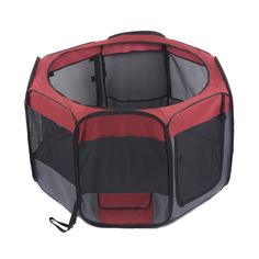 Favorite 48-inch Portable Puppy Dog Playpen/Foldable Nylon and Mesh Dog Exercise Pen Kennel with 2 Zippered Doors/Water Resistant Indoor Outdoor Pet Play Yard with 3 Ground Hooks, Red & Dark Grey