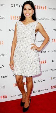 Look of the Day › July 11, 2012 WHAT SHE WORE Pinto screened Trishna in Rachel Roy's scalloped dress, diamond Harry Winston jewels and embellished pumps.